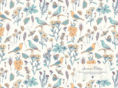 Summer Pattern - vector seamless pattern color pattern a day fabrics vector background pattern art vector summer birds floral pattern pattern