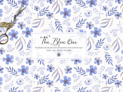 The blue one patterns - watercolor patterns fabrics floral pattern seamless pattern watercolor pattern