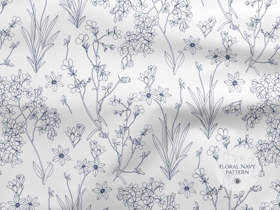 Floral navy seamless pattern fashion fabrics branches flowers rustically seamless pattern vector pattern navy floral