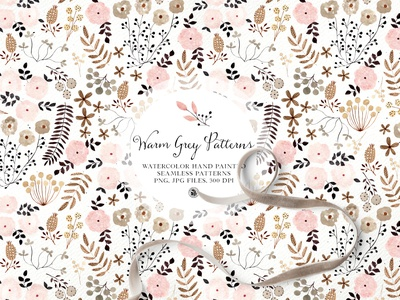 Warm grey watercolor pattern hand painted patterns watercolor floral watercolor pattern
