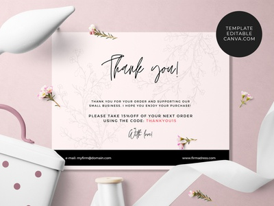 Thank you! Card Template canva template thank you card business card template small business template canva