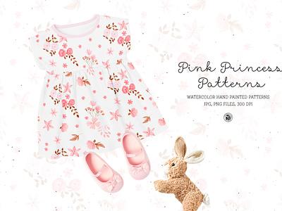 Pink Princess - watercolor patterns set fabrics nursery baby kids seamless patterns watercolor