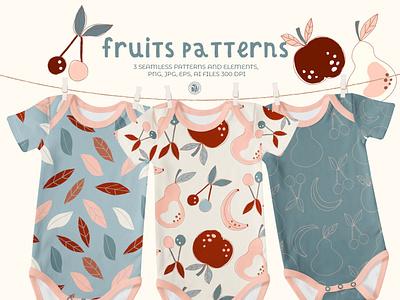 Fruits patterns - vector patterns for nursery apparel nursery apparel fabrics seamless pattern fruits kids patterns vector