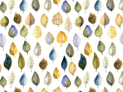 Watercolor leaves seamless pattern leaves pattern hand painted pattern fabrics seamless pattern watercolor