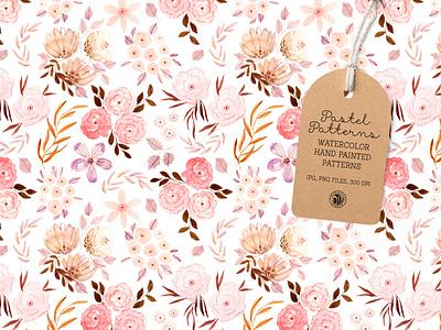 Pastel Patterns - watercolor set design fabrics watercolor seamless pattern