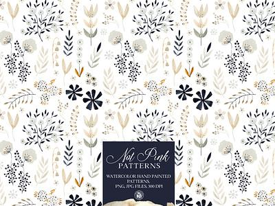 Not Pink Patterns - watercolor patterns set design illustration flowers fabrics watercolor seamless pattern