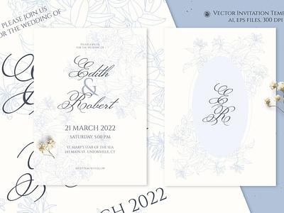 Light Blue Vector Wedding Invitation invitation wedding design vectorart flowers vector
