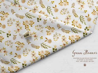 Green Flowers - watercolor floral clipart and patterns flowers watercolor seamless pattern