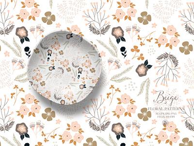 Beige floral patterns - vector set fabrics vectorart seamless pattern flowers vector