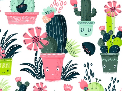 Cacti pattern illustrations cacti textiles fabrics pattern