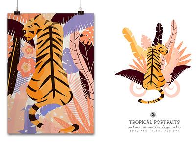 Tropical Portraits vectorart patterns for kids animals vector