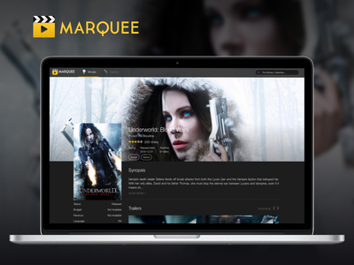 Movie Details Page for Movie Discover and Showtimes Website app showtimes trailers movies ui dark web
