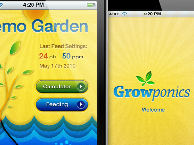 Growponics Display iphone interface app