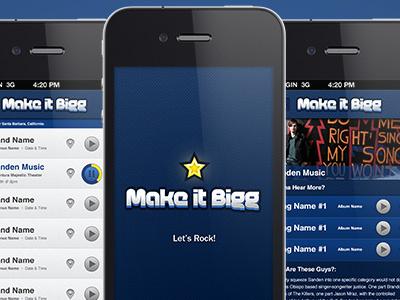 Make It Bigg - Music venue searching & band promotion ui logo app iphone music
