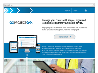 GoProjectGo Homepage WIP web webdesign blue