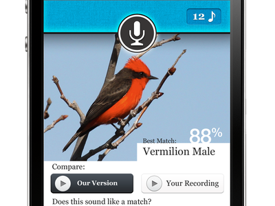 Pipio Results Screen iphone bird audio recording