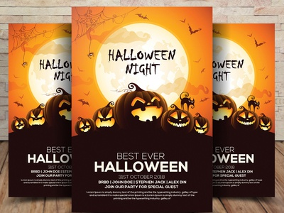Free Halloween Party Invitation Flyer PSD by Aliiqbal Dribbble – Party Invitation Flyer