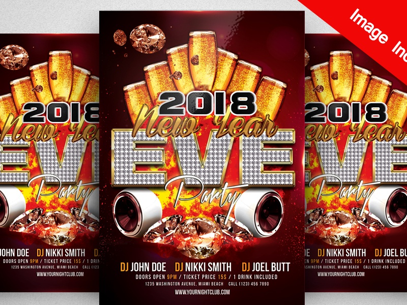 free happy new year 2018 flyer psd template club flyer club christmas party christmas eve champagne