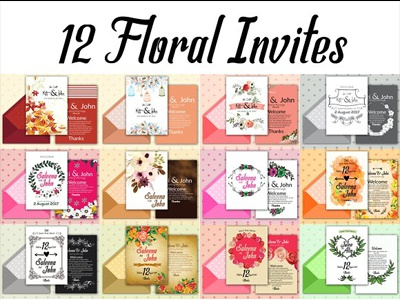 12 Double Sided Invitation Cards editable file print template graphic design business flyer event flyer roll ups free files business cards cards flyers