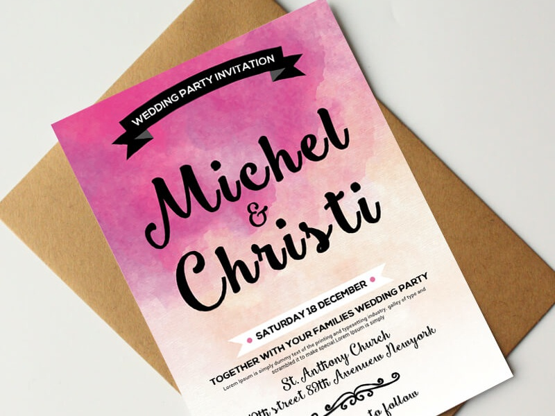 Free Watercolor Wedding Invitation Card Psd Templates By