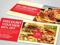Free Food Gift Voucher Psd Template illustration editable file design graphic design business cards business flyer
