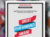 Free Performance Certificate Psd Template design editable file illustration free files print template business flyer