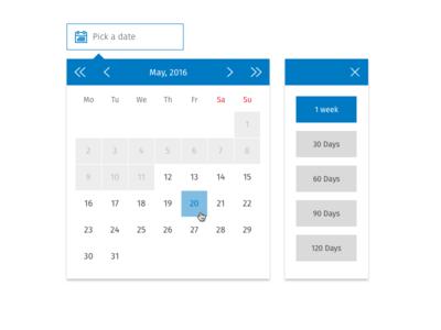 Date Picker W Addon Quick Pick calendar dates date selection date picker