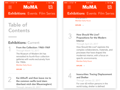 MoMA Mock table of contents toc mobile moma