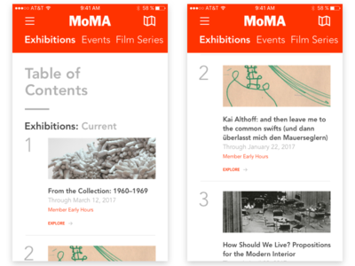 MoMA W Images Mock table of contents toc mobile moma