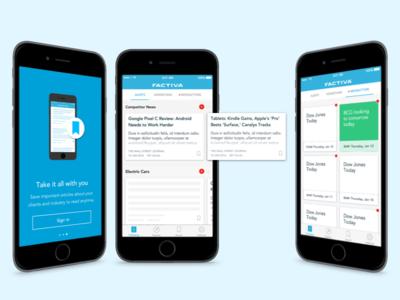 Factiva iOS App cards ios search new