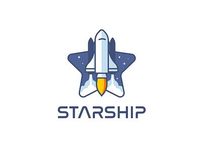 Starship Logo illustration stars nasa logo spaceship starship