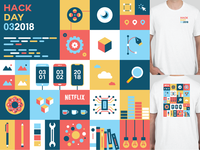Hack Day @ Netflix shirt colorful blocks netflix hack day