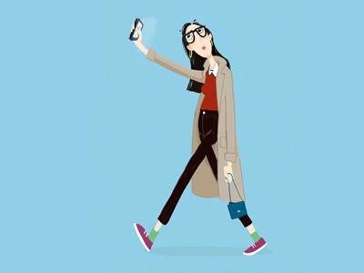 Selfiehipster design character illustration selfie mobile-phone-addict hipster