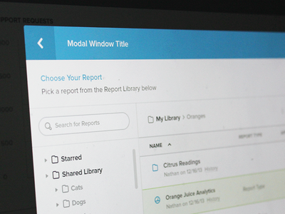 Yurbi Finder finder modal search grid folders table spotlight