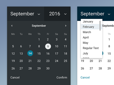Component: Date Selection calendar month year dropdown ui component chooser picker date picker date