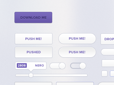 Free Clean UI Kit (PSD) Complete with Dubstep references. ui kit freebie psd dubstep free photoshop file. buttons download slider purple clean minimal sharp checkbox tooltip validation skrillex