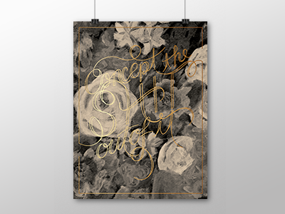 Concept Poster watercolor lettering black and white metallic ink screen printing