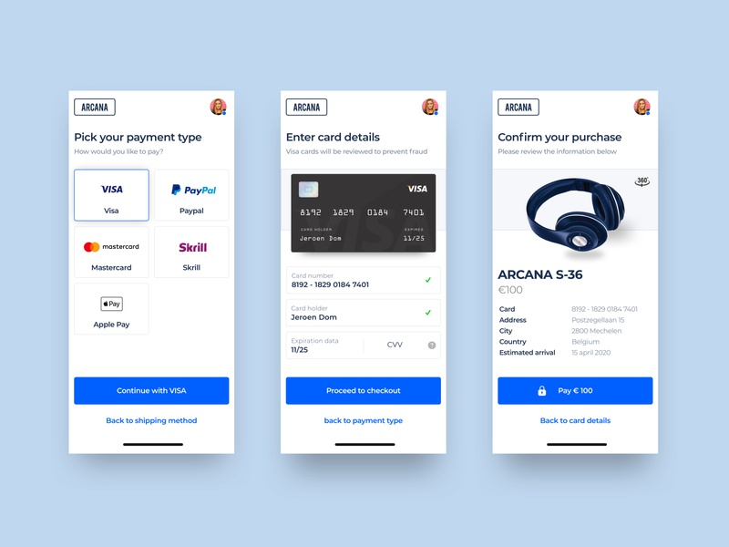 Checkout process - Arcana uidesign confirmation clean branding app concept mobile visa paypal shipping design ux payment headphones checkout ui