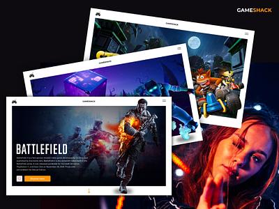 Gaming platform - Gameshack fold mockup concept clean dark crashbandicoot fortnite battlefield playfull videogames landingpage desktop design games ui ux gaming