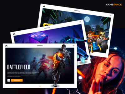 Gaming platform - Gameshack fold mockup concept clean dark crashbandicoot fortnite battlefield playfull videogames landingpage desktop design games ui ux gaming