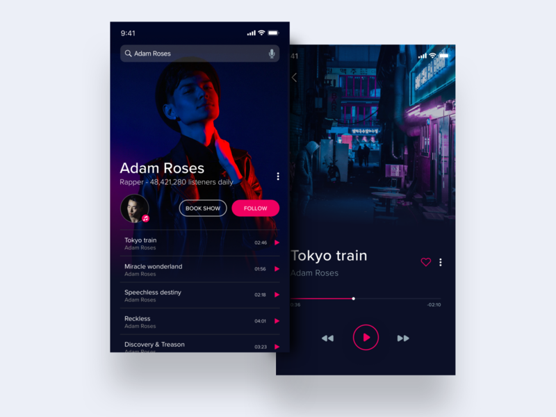 Music player - mobile app mobile design mobile app musicians music art music player app music player ui musician vibrant simple concept dark app mobile ux ui music player music app design clean music