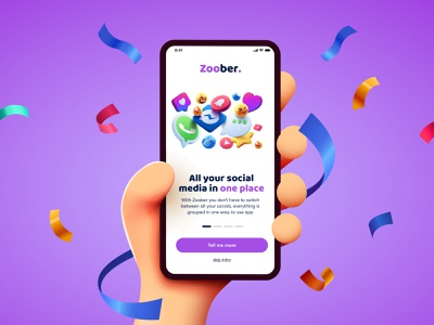 Zoober - Social media graphic design zoober logo splashscreen intro purple emoji socialmedia social ux branding illustration clean mobile concept design 3d ui
