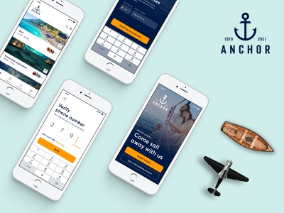 Anchor - cruises plane phone authentication travel vacation holiday cruise boat mobile concept design ux mob branding logo graphic design 3d ui