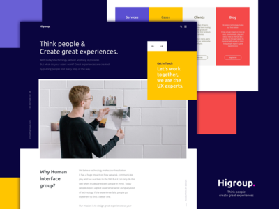 Human Interface Group Rebranding concept people landingspage agency mondrianizm mondrianisme ux ui human interface group rebranding