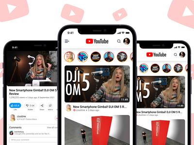 YouTube App Redesign social typography vector redesign uiuxdesign mobiledesign uxdesign uidesign uiux ux ui 3d design app youtube