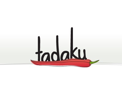 Tadaku - Logo tadaku food cook rough lines vegetable meal chilli pepper red black white illustration