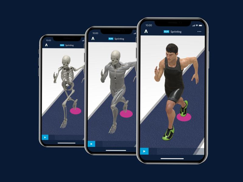 Athletics 3D - iOS app design video information architecture tokyo designer app designer 東京 tokyo uiux ui interaction animation 3d training technique sports athletics a3d a3d athletics 3d