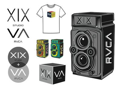 XIX STUDIOS  + RVCA t-shirts rvca xix studios rolleiflex illustration camera logos