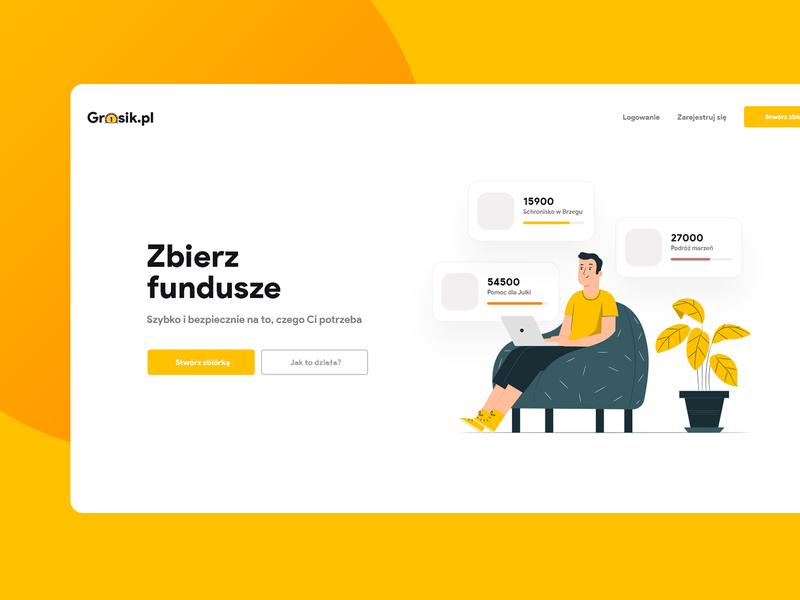 Grosik website money fundraiser subtl clean app layout design web page landing ui ux visux