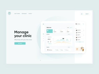 Clinic Landing clean manage healthcare health clinic doctor medicine medical app desktop page landing layout design web visux ui ux